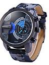 Men\'s Military Fashion Double Time Leather Band Quartz Watch Wrist Watch Cool Watch Unique Watch