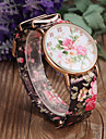 Women\'s Fashion Flower Pattern PU Band Quartz Watch Cool Watches Unique Watches