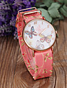 Women's Fashion Butterfly & Flower Pattern PU Band Quartz Watch Cool Watches Unique Watches