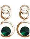 Drop Earrings Hoop Earrings Crystal Crystal Gold Plated Alloy Fashion Green Pink Jewelry Party Daily Casual 2pcs
