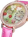 Women\'s Sparkle Case 3D Flower Dial PU Band Quartz Watch