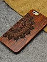 Wood Lucky Flower Carving Concavo Convex Hard Back Cover for iPhone 5/5S/SE