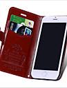 Pour Coque iPhone 6 Coques iPhone 6 Plus Porte Carte Avec Support Clapet Coque Coque Integrale Coque Couleur Pleine Dur Vrai Cuir pour
