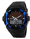 SKMEI 남성 손목 시계 LED 달력 크로노그래프 방수 듀얼 타임 존 경보 태양 에너지 스포츠 시계 태양 에너지 PU 밴드 블랙
