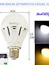 YouOKLight Lampada Redonda LED Decorativa E26/E27 9W 800 LM 3000/6000 K Branco Quente / Branco Frio 20 SMD 5730 1 pc AC 220-240 V B