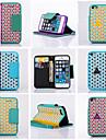 couro aleta carteira cartao de suporte do entalhe de pendurar caso de telefone corda para o iPhone 5