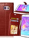 Pour Samsung Galaxy Note Portefeuille Porte Carte Avec Support Clapet Coque Coque Integrale Coque Couleur Pleine Cuir PU pour SamsungNote