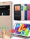 TPU + pu tampa de couro janela deslizante vista chamada resposta s5mini caixa do telefone para Samsung Galaxy S5 mini-G800 com suporte