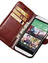 Para Capinha HTC Porta-Cartao Carteira Com Suporte Flip Capinha Corpo Inteiro Capinha Cor Unica Rigida Couro PU para HTC HTC One M8