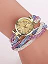 Mujer Reloj de Moda Reloj Pulsera Cuarzo Reloj Casual La imitacion de diamante PU Banda Flor Leopardo BohemioAzul Marron Verde Rosa