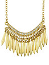 Gold Plated Long Spike Hip Pop Necklace