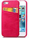 karzea ™ couro pu solida caso tampa traseira com suporte de cartao e um suporte para iPhone5 / 5s (cores sortidas)