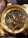 Men's Classic Auto-Mechanical Skeleton Gold Case Steel Band Wrist Watch Cool Watch Unique Watch Fashion Watch