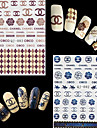 4 Sheets Watermark Transfers 3D Nail Stickers Decals Foil Nail Art Decorations Tools Accessories