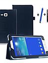 용 스탠드 / 자동 슬립/웨이크 기능 / 플립 케이스 풀 바디 케이스 단색 하드 인조 가죽 Samsung Tab 3 Lite