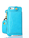 For iPhone 5 Case Card Holder / with Stand Case Pochette Case Solid Color Hard PU Leather iPhone SE/5s/5