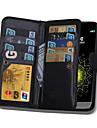 Pour Coque LG Porte Carte Portefeuille Clapet Magnetique Coque Coque Integrale Coque Couleur Pleine Dur Cuir PU pour LG LG G5 LG G4 LG G3