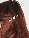 Women Simple Fashion Stone Mandrel Sweet Heart Shaped Pearl Hairpin Alloy Hair Accessories 1pc