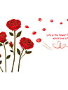 Wedding Room Red Rose Flowers Wall Stickers Removable Romance Bedroom Florals PVC Wall Decals