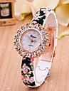 아가씨들 패션 시계 모조 다이아몬드 시계 모조 다이아몬드 석영 Plastic 밴드 꽃패턴 블랙 화이트 블루 퍼플 로즈