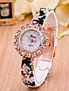 Women\'s European Style Fashion Printing Flower Rhinestone Stretch Wrist Watches