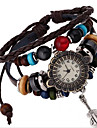 Women\'s Alloy Leather Handcrafted Vintage Bracelet Table Wrist Watch