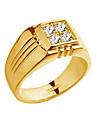 Классические кольца Циркон 18K золото Сплав Мода Серебряный Золотой Бижутерия Для вечеринок Повседневные Новогодние подарки 1шт