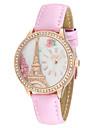 아가씨들 패션 시계 모조 다이아몬드 시계 캐쥬얼 시계 석영 일본 쿼츠 가죽 밴드 에펠탑 화이트 브라운 핑크
