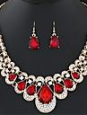 Набор украшений Воротничок Ожерелье / серьги Мода европейский Драгоценный камень Имитация АлмазныйЧерный Красный Синий Радужный