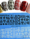1pcs  New Nails Art  Lace Sticker Colorful Image Design Beautiful Rose Manicure Nail Art Tips STZ-V011-015