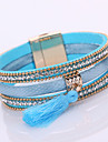 Multilayer Leather Bracelet Magnetic Crystal Bracelets For Women 2016 Vintage Rhinestone Tassel Bracelets