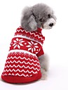 Cat Dog Sweater Dog Clothes Winter Spring/Fall Stripe Cute Christmas New Year\'s Red Blue