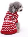고양이 개 스웨터 강아지 의류 겨울 모든계절/가을 스트라이프 귀여운 크리스마스 새해 레드 블루