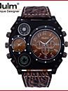 Hombre Reloj Militar Cuarzo Japones Termometro / Dos Husos Horarios Piel Banda Cool Negro / Marron Marca