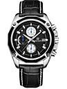 MEGIR® Men\'s Leather Band Black/White Case 30M Water Resistant Noctilucent Sports Dress Watch(Include Package)