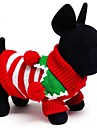 Cat / Dog Sweater Red / Green / White Dog Clothes Winter / Spring/Fall Stripe Holiday / Keep Warm / Christmas