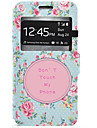 Flower Pattern Window Clamshell PU Leather Case with Stand and Card Slot for Samsung Galaxy J7 J5 J3 J310
