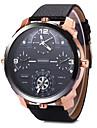 SHI WEI BAO Hombre Reloj Militar Reloj de Moda Reloj de Pulsera Cuarzo Dos Husos Horarios Tres Husos Horarios Piel Banda Cool Negro Marron