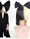 halloween fete en ligne sia vivant cela agit a moitie noir courte perruque blonde avec un accessoire de costume noeud papillon perruque