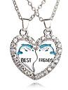 Homme Femme Couple Pendentif de collier Forme de Coeur Forme Geometrique Strass Plaque argent Alliage Amour Coeur Mode Adorable Europeen