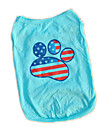 Fashion Cotton US Flag Paws Pattern Pet Shirt Dog Clothes Apparel Clothing Summer Breathable Sport Style Vest T-Shirt
