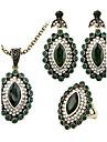 Цирконий Свадьба Классика Pоскошные ювелирные изделия Бирюза Зеленый 1 ожерелье 1 пара сережек 1 кольцо ДляСвадьба Для вечеринок