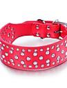 Dog Collar Adjustable/Retractable / Studded / Sequins Rhinestone / Rock Red / Black / White / Pink / Purple Genuine Leather