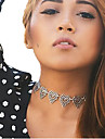 Necklace Choker Necklaces Jewelry Thank You Valentine Heart Heart Alloy Women Gift Silver