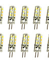 10 pcs 1w g4 led bi-pin lights 24 smd 3014 100lm dimmable quente branco / branco branco dc12v