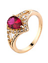 Ring Emerald AAA Cubic Zirconia Zircon Cubic Zirconia Gold Plated White Red Green Blue Jewelry Casual 1pc