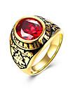 Кольцо Цирконий Сталь Мода Черный Красный Бижутерия Повседневные 1шт