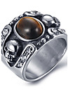Men\'s Fashion Vintage Rock Style 316L Titanium Steel Skull Personality Engraved Agate Onyx Rings 8 9 10 11 11 12 Casual/Daily 1pc