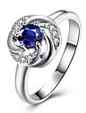 Кольцо Бижутерия Циркон Цирконий Серебрянное покрытие Синий Бижутерия Свадьба Повседневные 1шт