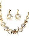 مجموعة مجوهرات لؤلؤ تقليدي حجر الراين اللؤلؤ 18K الذهب سبيكة ذهبي زفاف حزب يوميا 1SET 1 قلادة 1 زوج من الأقراط هدايا الزفاف